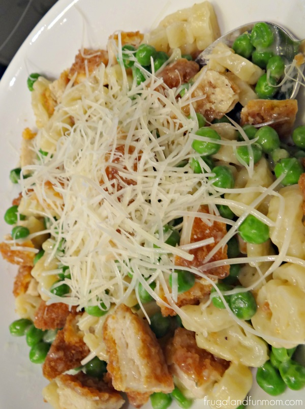 Pasta and Peas in a Parmesan Cheese Sauce with Breaded Chicken