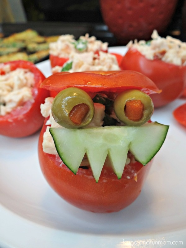 Tomato Monster with Chicken Salad