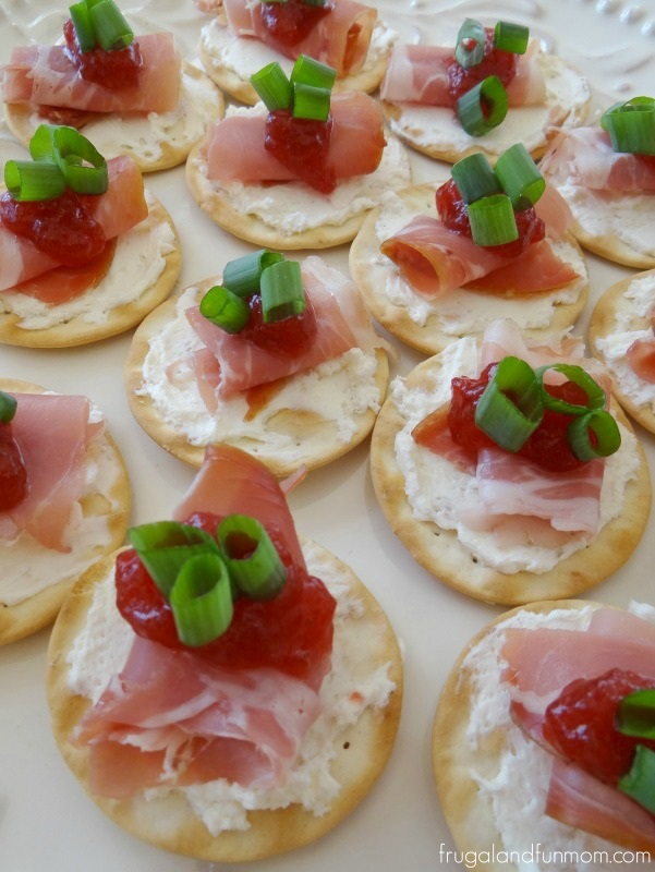 Prosciutto and cranberry crackers an appetizer made for for Prosciutto canape