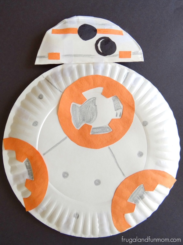 Star Wars Inspired Paper Plate BB-8 Robot Photo