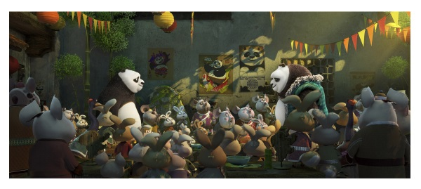 (L-R) Po (voiced by Jack Black) meets his long-lost panda father Li (voiced by Bryan Cranston) for the first time in DreamWorks Animation's KUNG FU PANDA 3.