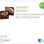 Cooking Out This Summer? There is a Coupon for .75 Cent off 2 Ball Park Products!