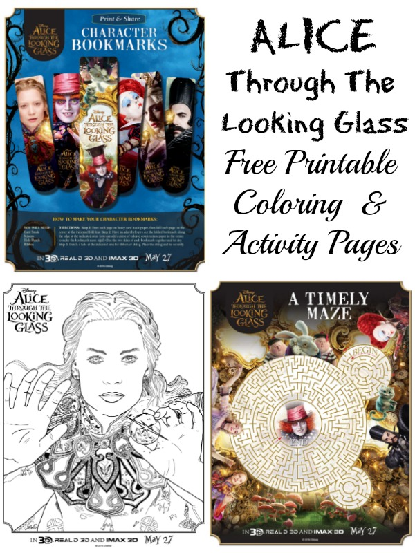 Alice Through The Looking Glass Free Printable Coloring Sheets and Activity Pages