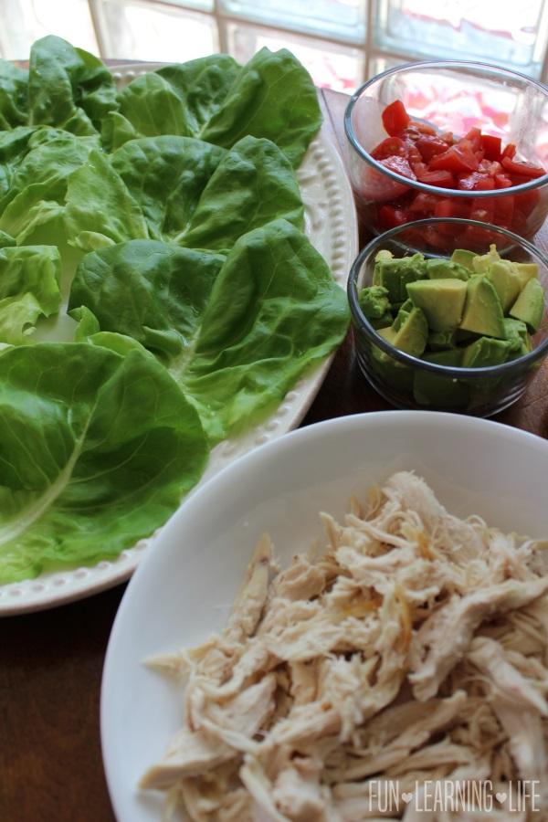 Assembling Chicken Lettuce Wraps