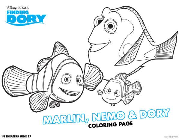 Finding Dory Coloring Sheets with Nemo Marlin and Dory