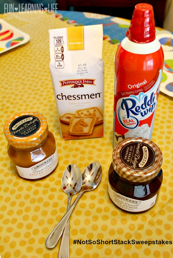 Pepperidge Farms Chessmen cookies, Smucker's Simple Delight toppings Reddi-wip