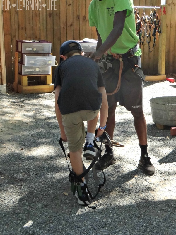 Putting on gear at Tree to Tree Adventures at the Tallahassee Museum