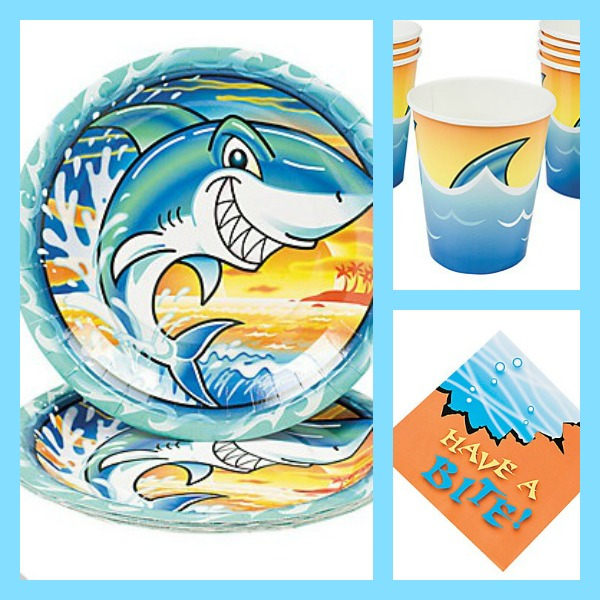 Shark plates, cups, and napkins