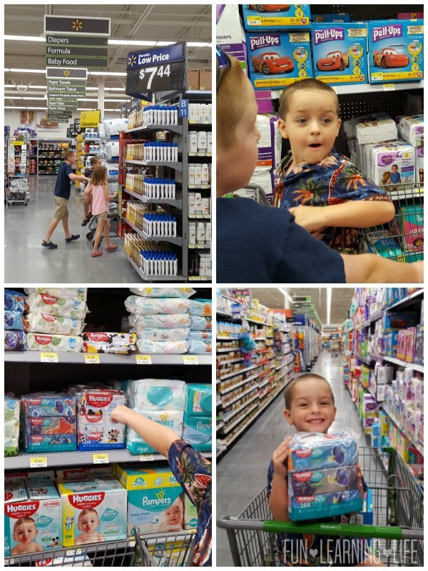 Shopping for Pull-Ups and Huggies Wipes at Walmart Neighborhood Market