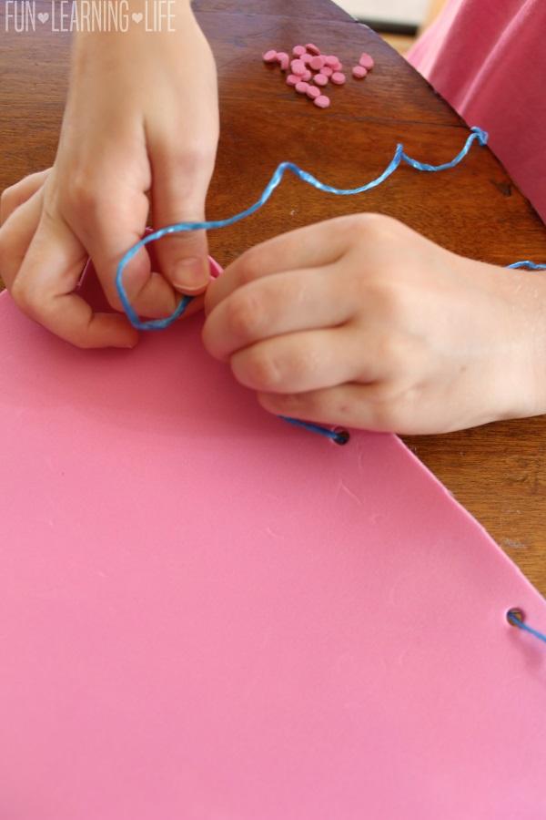 Foam Finger Craft weaving