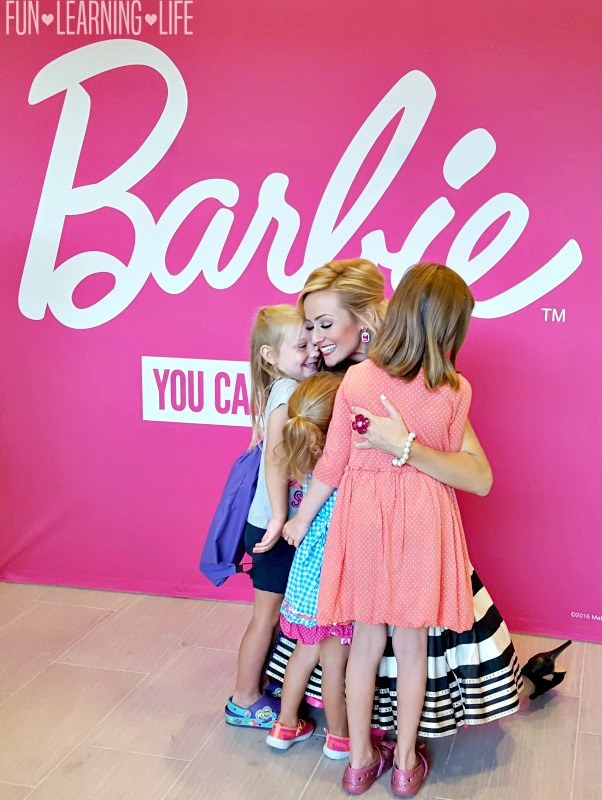 Getting a hug from Barbie at the Westfield Mall Event