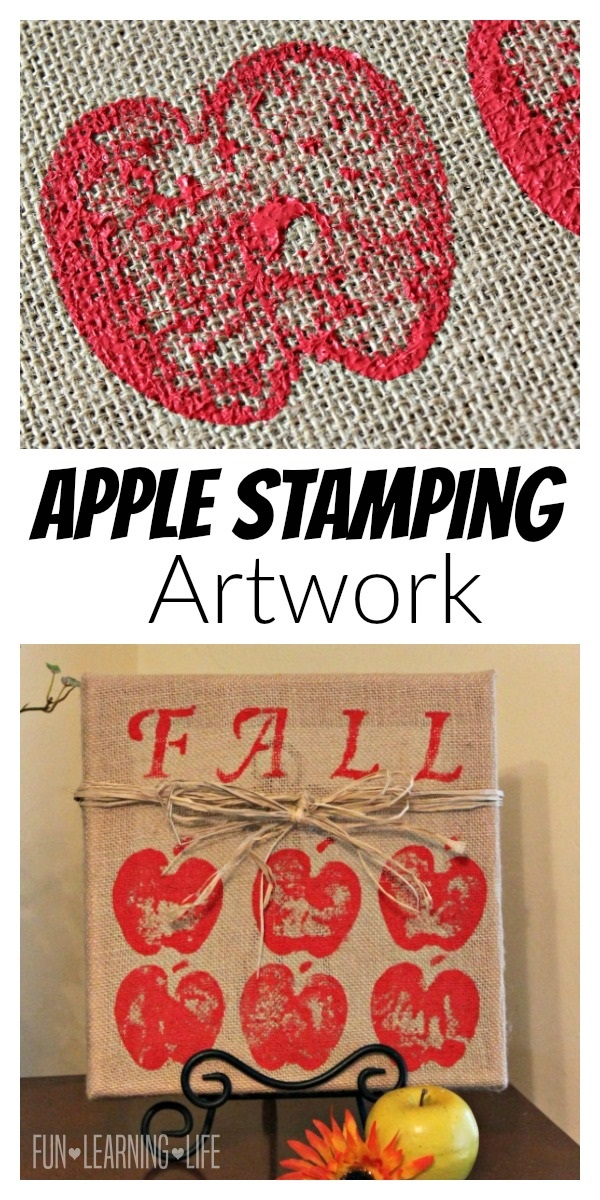 Fall Craft: Apple Stamping Burlap To Create Artwork!