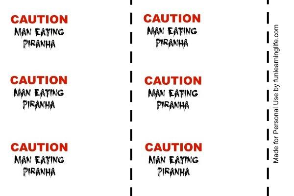 Caution Man Eating Piranha Halloween Printable