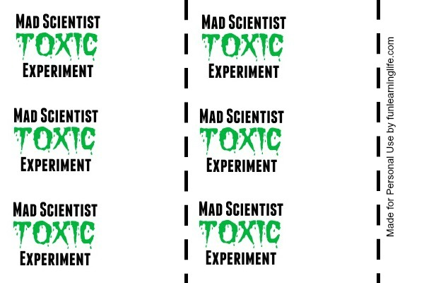 Mad Scientist Toxic Experiment Printable