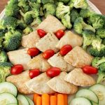 Christmas Tree Sandwich Platter with Vegetables and Homemade Tzatziki Dip Recipe!