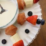 Mini Muffin Fruit Kabobs With White Chocolate Dip!