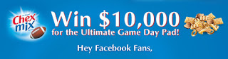 Chex Mix Sweepstakes, Win $10,000 for the Ultimate Game Day Pad