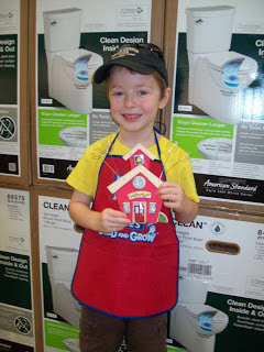 Our First Trip to Lowe's Build and Grow! My son made a School House Photo Holder!