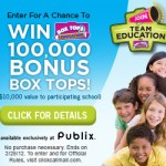 Attention Publix Shoppers!!! Help Win 100,000 Box Tops for Your Favorite School! That is $10,000 Bucks!