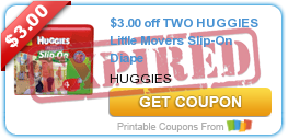 $3.00 off TWO HUGGIES Little Movers Slip-On Diape