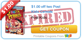 $1.00 off two Post Kids Cereals