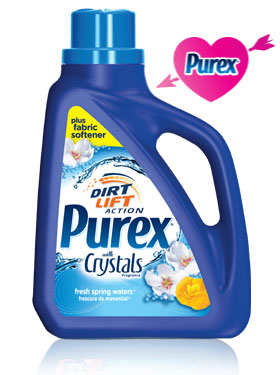 purex detergent with crystals and fabric softener