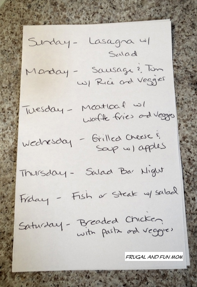 list for meals