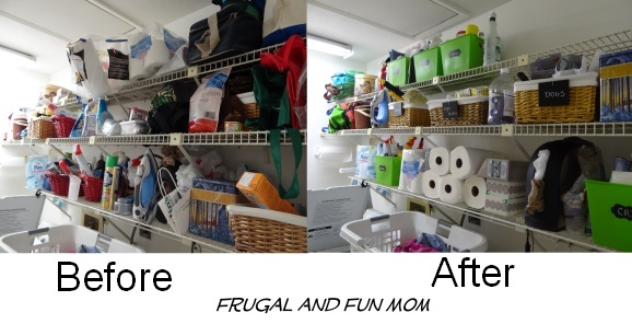 Laundry Room Before and After Organization with Totes