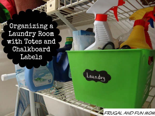 Organized laundry with totes chalkboard labels