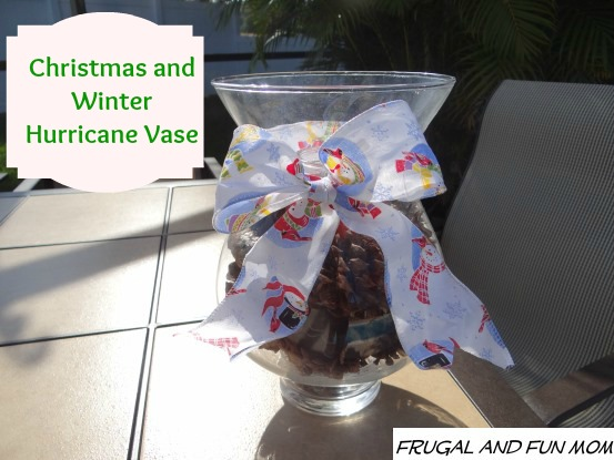 Hurricane Vase Decorated for Christmas