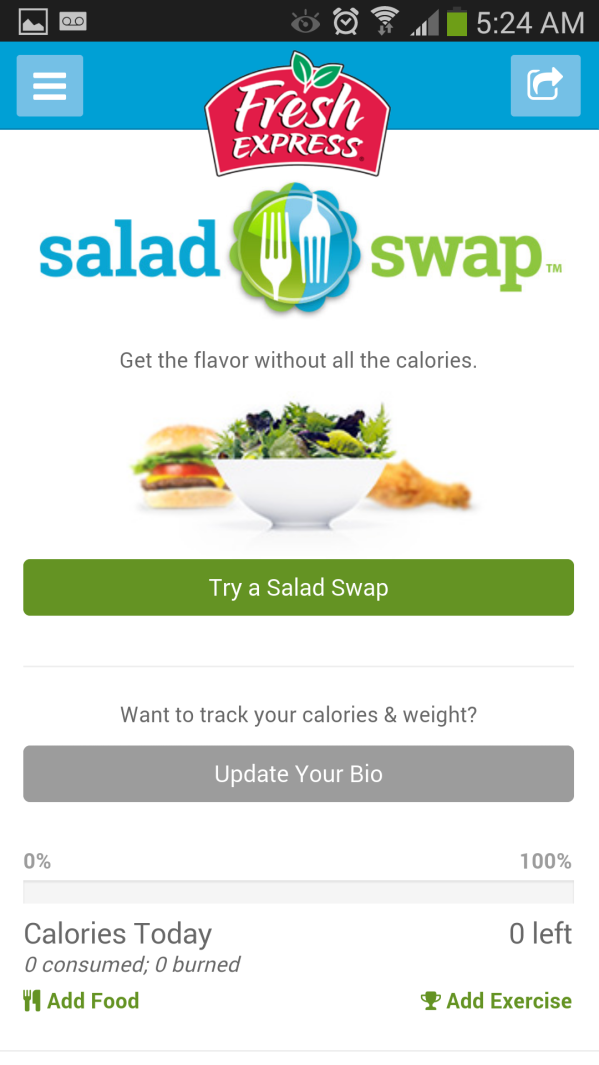 Fresh Express Salad Swap App Screen