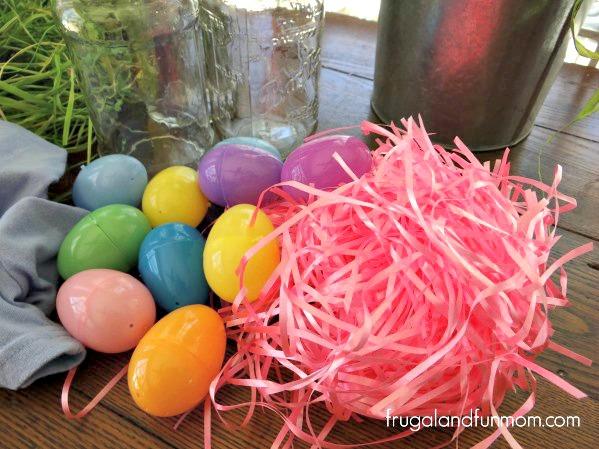 Easter DIY Mason Jar supplies grass and eggs