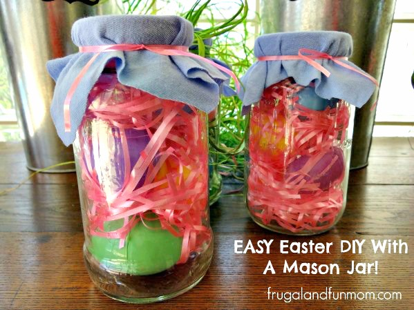 Easter DIY With A Mason Jar or Spaghetti Cantainer Easy