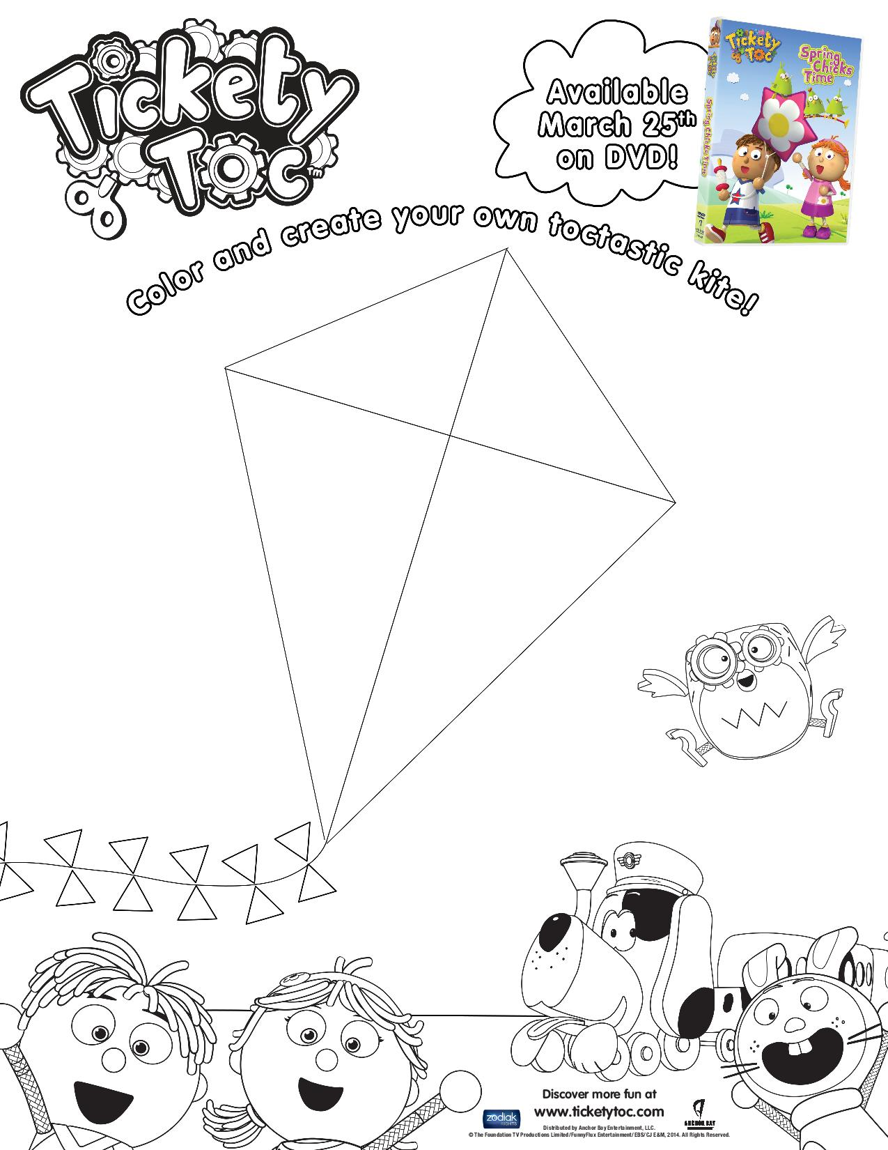 Tickety Toc Design Your Own Kite Coloring