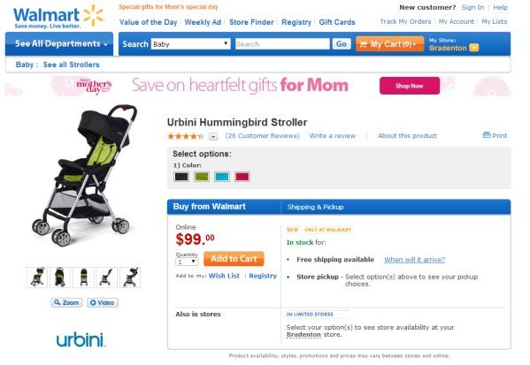 Urbini Hummingbird Stroller at Walmart