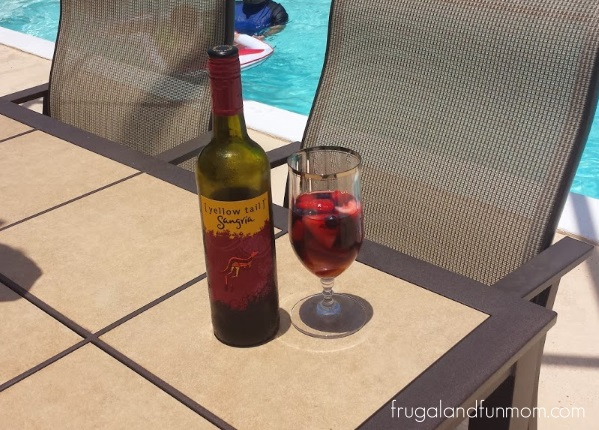 Sangria Sunday Poolside With Yellow Tail, Fruit, and Whipped Cream! #SangriaSunday