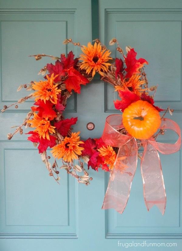 Fall Door Wreath Idea That Is No Glue