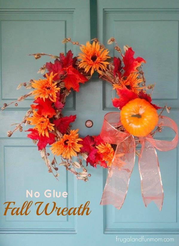 No Glue Fall Door Wreath Idea