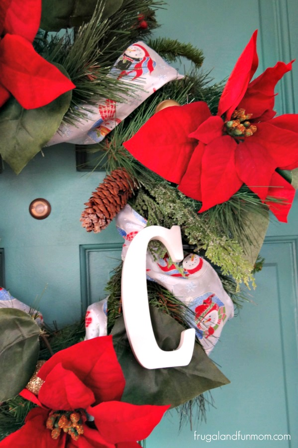 Poinsettia Christmas Wreath with Letter