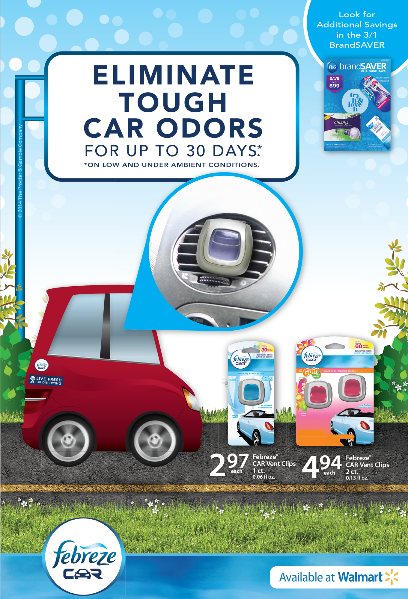 Walmart Ad for Febreze Car Clips