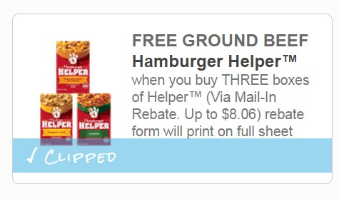 Hamburger Helper Free Ground Beef Rebate