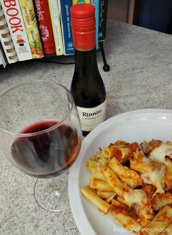 Riunite Lambrusco with Italian