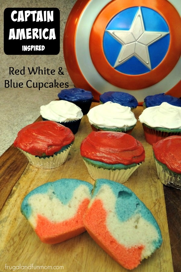 Captain Amercia Red White and Blue Inspired Cupcakes