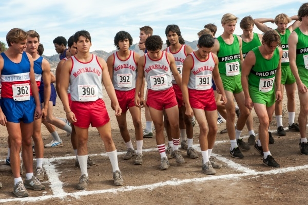 McFARLAND, USA..L to R: Thomas Valles (Carlos Pratts), Jose Cardenas (Johnny Ortiz), Johnny Sameniego (Hector Duran), Damacio Diaz (Jamie Michael Aguero) and Victor Puentes (Sergio Avelar)...Ph: Ron Phillips..©Disney 2015