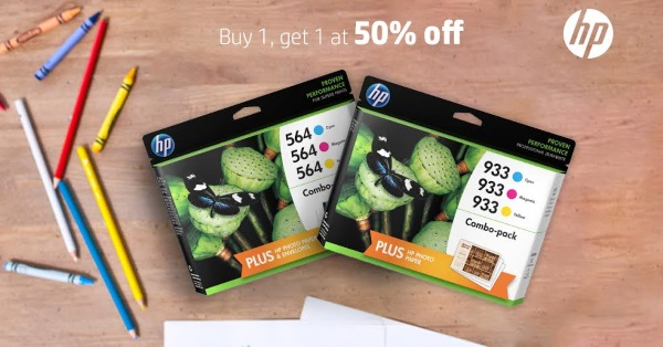 Buy one Original HP Ink get a 2nd cartridge of equal or lesser value for 50 percent off