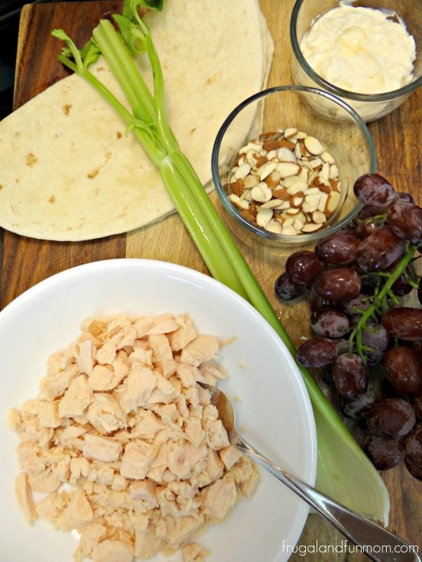 Ingredients for Chicken Salad Wraps With Grapes and Almonds