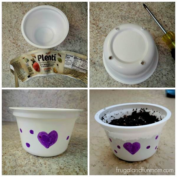 Yogurt Cup into a Flower Pot