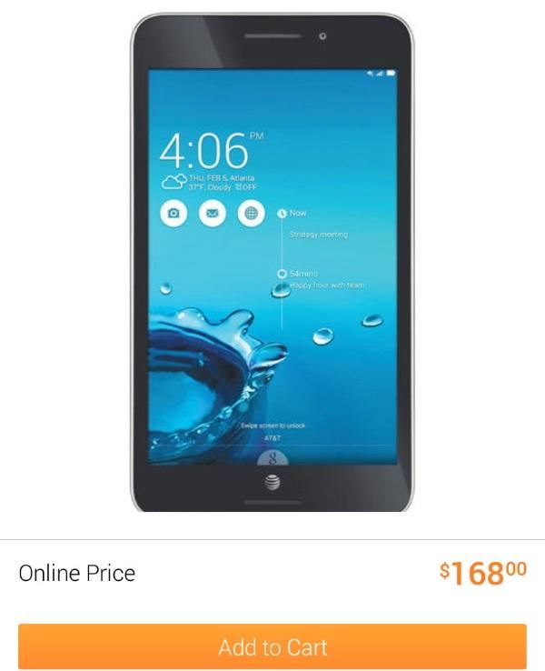 AT&T ASUS MeMo Pad 7 LTE at Walmart