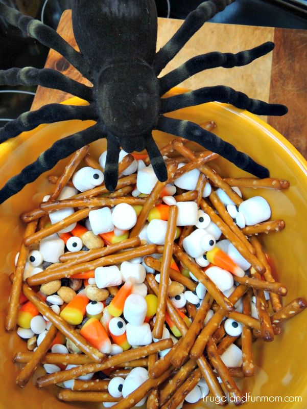 Halloween Trail Mix with Spider Decoration