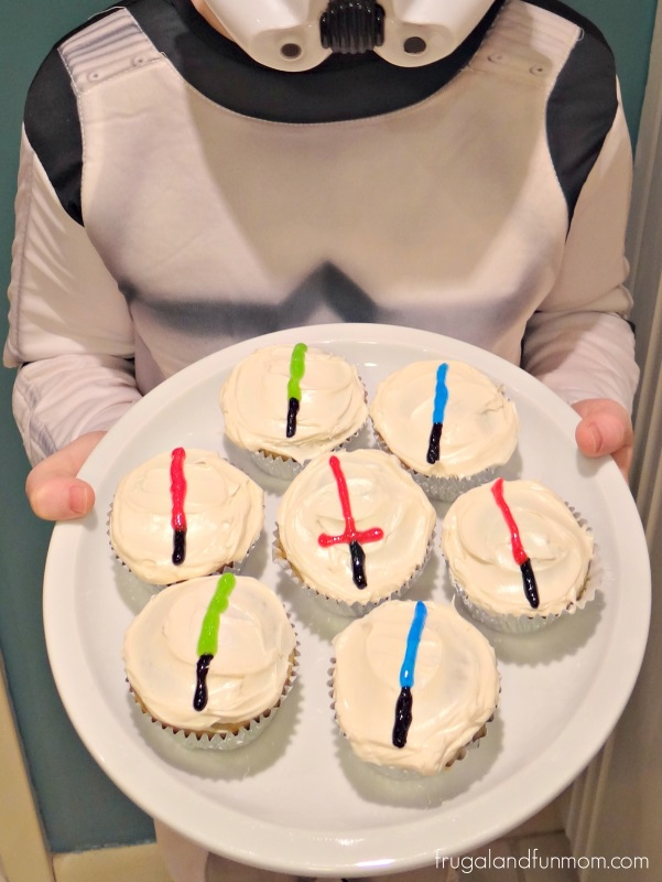 Lightsaber Cupcakes Decorated